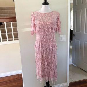 Vintage Lee Jordan Pink Drip Lace Tier Layer Dress